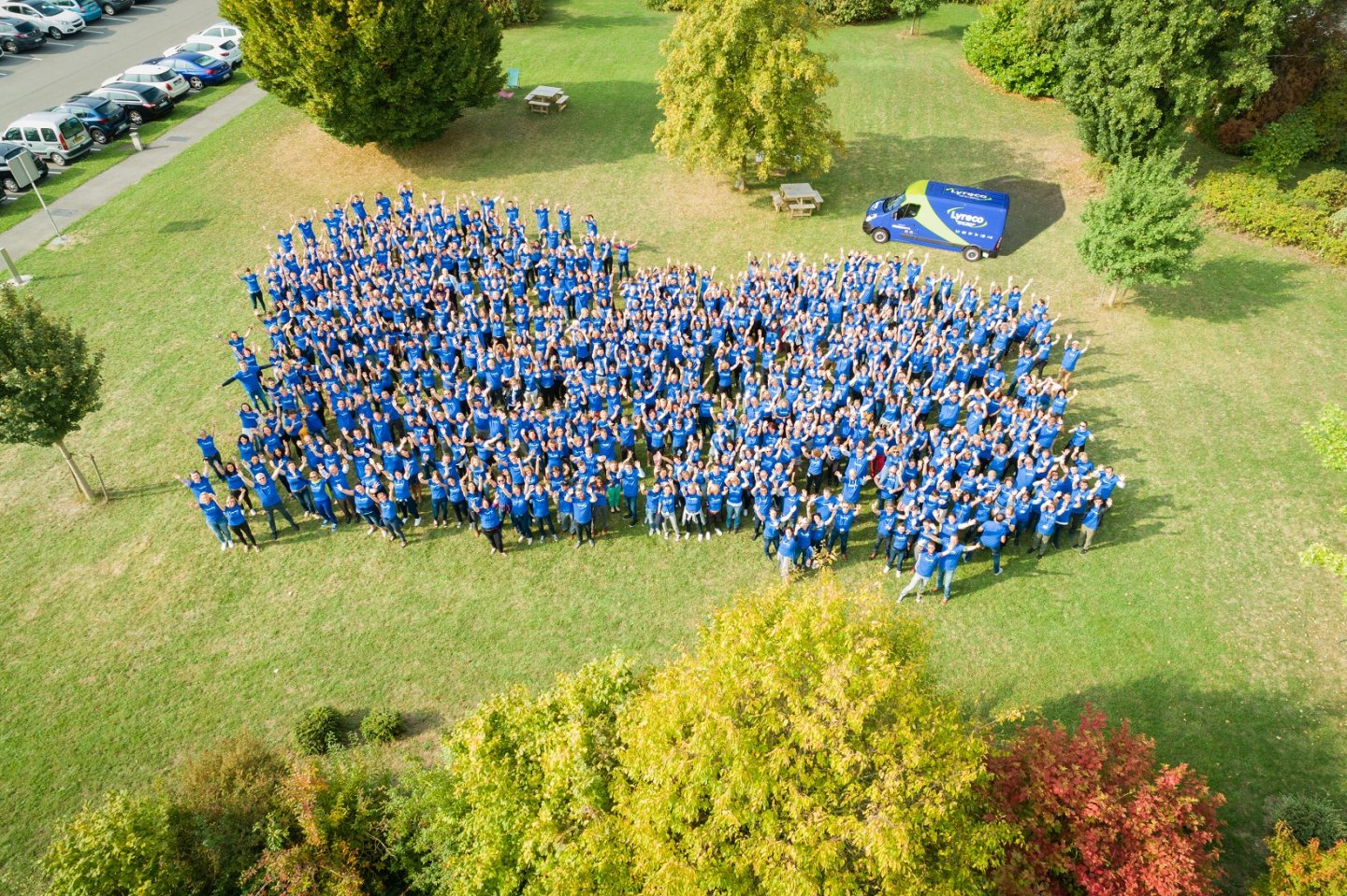 teams with blue t shirt drone